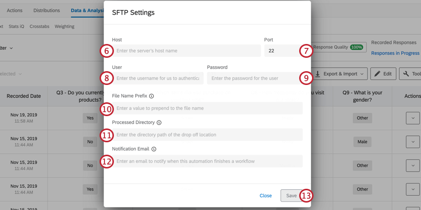 image of the sftp setup for an automation