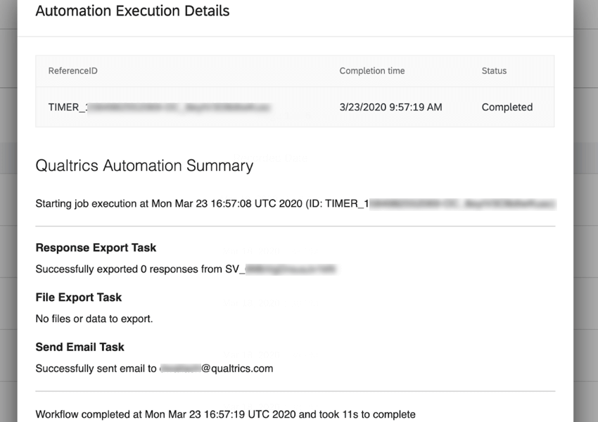 a report of a successful automation run