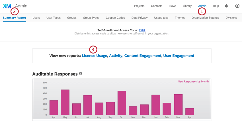 the summary report page. click admin to find this page, then click license usage to go to the license usage graph