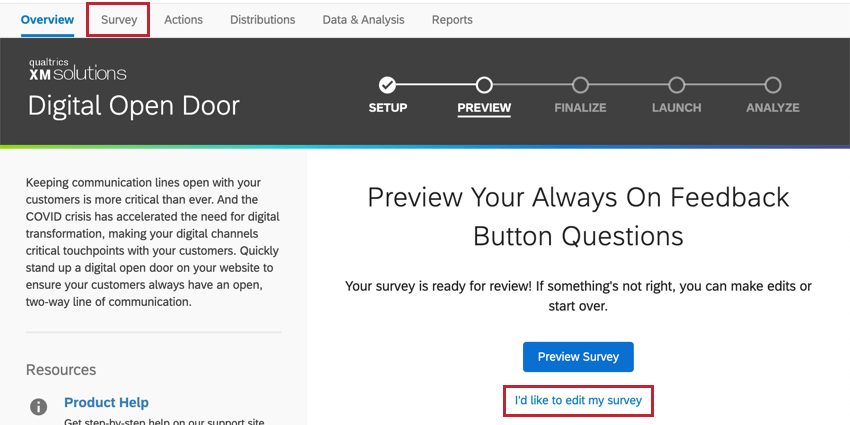 Overview tab. Next to overview, it says survey. Click here or blue text beneath blue button, center-right of page