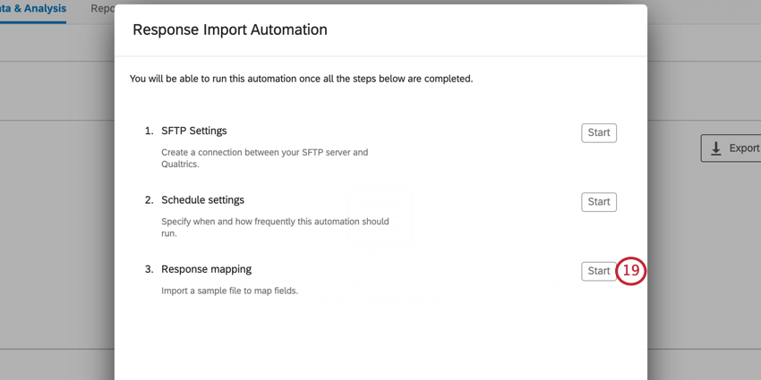 creating a response import automation. click start next to response mapping