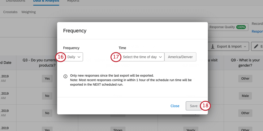 use the frequency and time dropdowns to determine when the automation will run