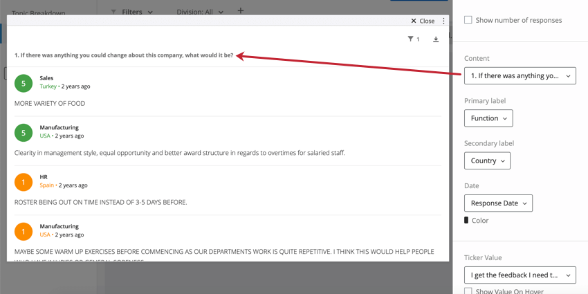 """Content selected in editing pane of the widget under """"Content"""" (Q1 - what would you change about this company) is the same one listed along the top of the widget"""