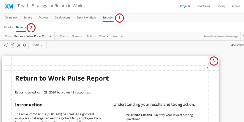 Reports is last tab. Under that, another reports button, to right of Results. Screenshot shows the report, with a few paragraphs of text