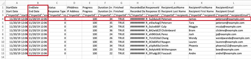 "Image highlighted to show a row of responses and a column of ""End Date"" data"