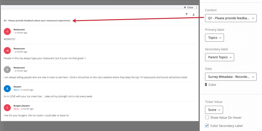 """Content selected in editing pane of the widget under """"Content"""" (Q1 - give your restaurant feedback!) is the same one listed along the top of the widget"""