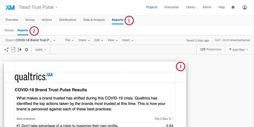 Reports is last tab along the top of the screen. Under that, another reports button, to right of Results. Screenshot shows the report
