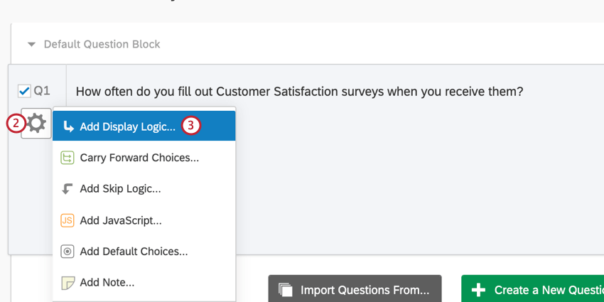 the add display logic choice after clicking the gear icon on a question