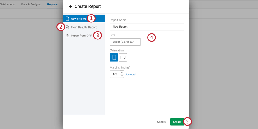 the create report screen