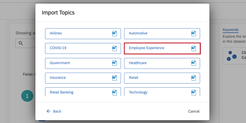 the import topic screen for selecting a topic library. the employee engagement library is selected