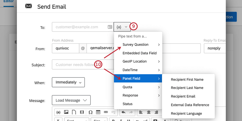 customizing an email task. click the piped text icon next to the to field to select the field that has the respondent's email address