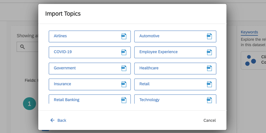 the Qualtrics topic library. select a category to add topics