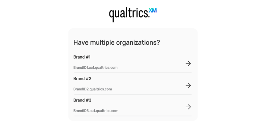 "the ""have multiple organizations"" screen. three different brands are visible for the user to choose from."