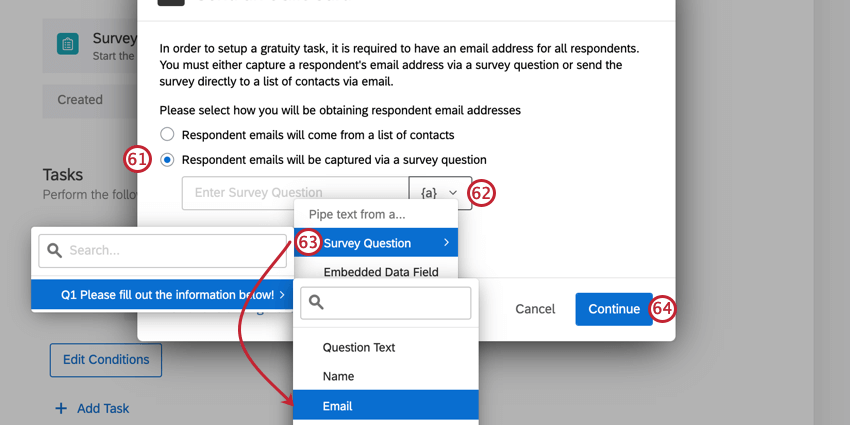 a tango card task being set up. the option for using emails from a question is selected. click the piped text icon and then pipe text in from the survey question where you collected the email addresses