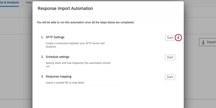 setting up a response import automation. click start next to sftp settings