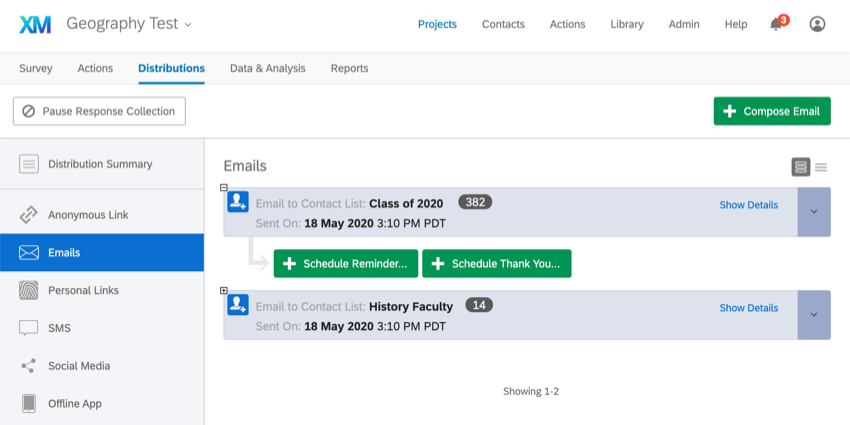 Distributions tab of a survey, Emails selected to left, see two purple boxes with names of contact lists, times they distributed, and the number of emails sent