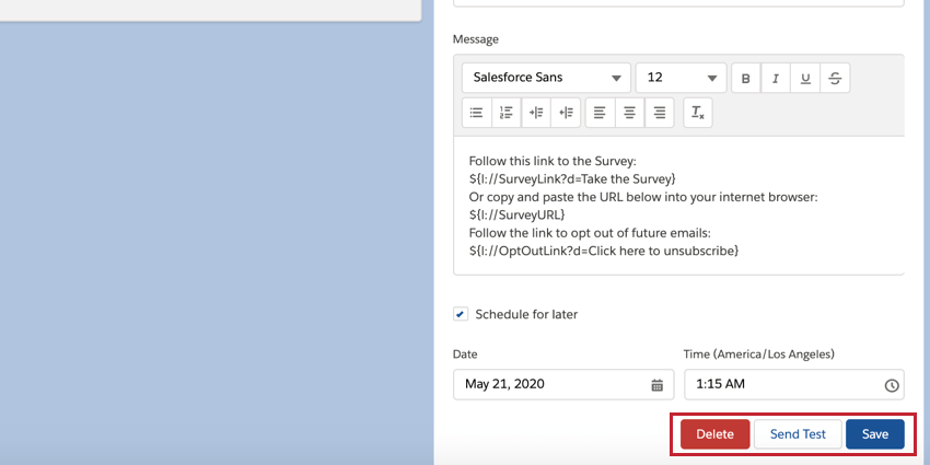 the delete and save buttons for editing and deleting distributions