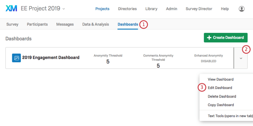 Dashboards tab of an engagement project opened, listing dashboards. Dropdown to right of a dashboard has an edit option