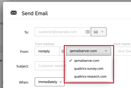 From address field in an email task. Dropdown with list of email domains instead of open text field