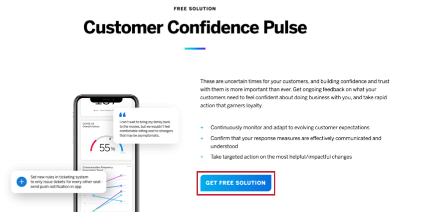 Customer Confidence Pulse on the back to business page; blue button that says Get Free Solutions