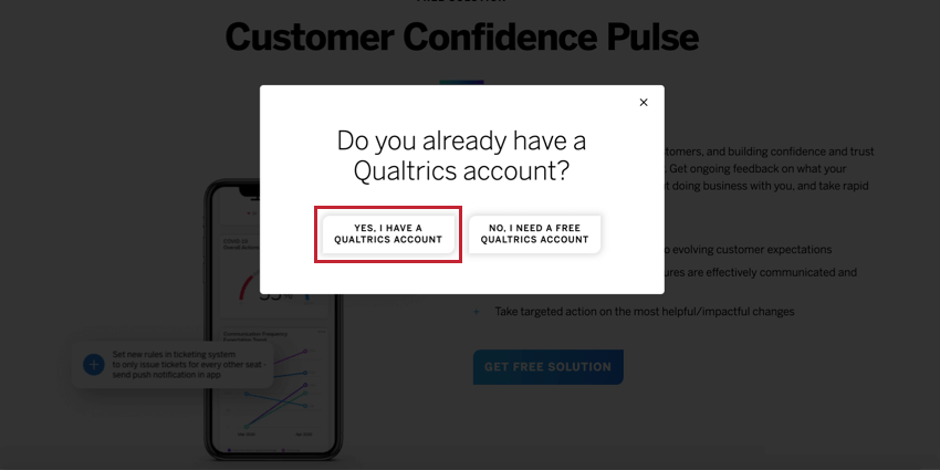 Pop up with yes / no option; the flow wants you to answer honestly
