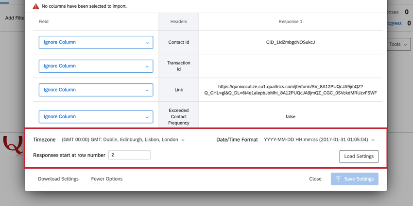 the more options when mapping your fields. here you can choose the timezone, date format, and what row of the file your responses begin on