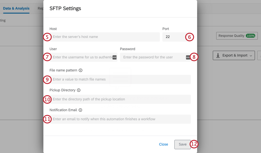 setting up a response import automation. on this screen, enter all of the specified SFTP server information