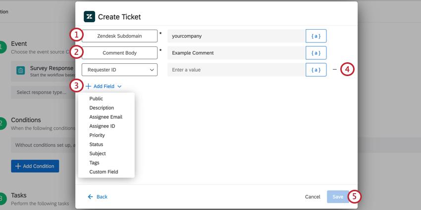 the create ticket task for the zendesk task