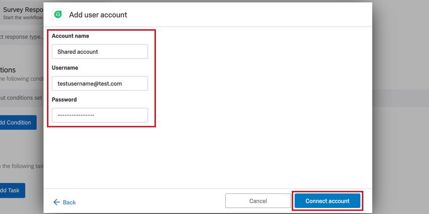 the add user account screen. give the account a name and enter the username and password of the freshdesk account