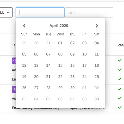 the filter for filtering by date. click the two boxes to select a date using the calendar pop-up