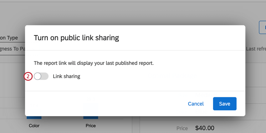 the link sharing toggle for turning on the public report
