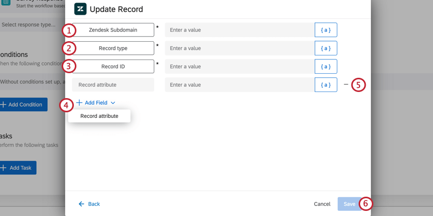 the update record task for a zendesk task