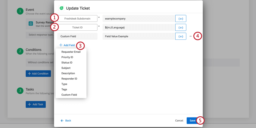 the update ticket task for a freshdesk task