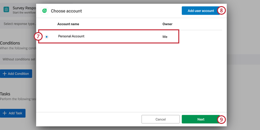setting up a freshdesk task. choose the freshdesk account to use, or use a new one by clicking add user account