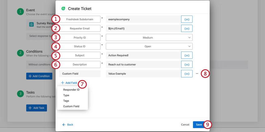 the create ticket task for a freshdesk task