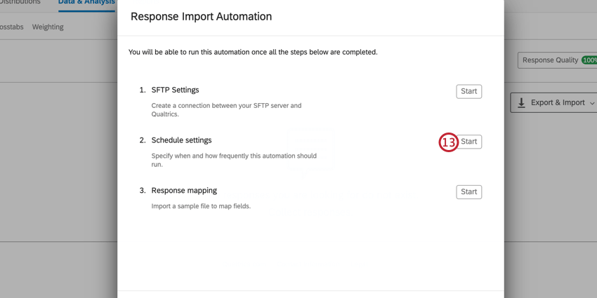 setting up a response import automation. click start next to schedule settings