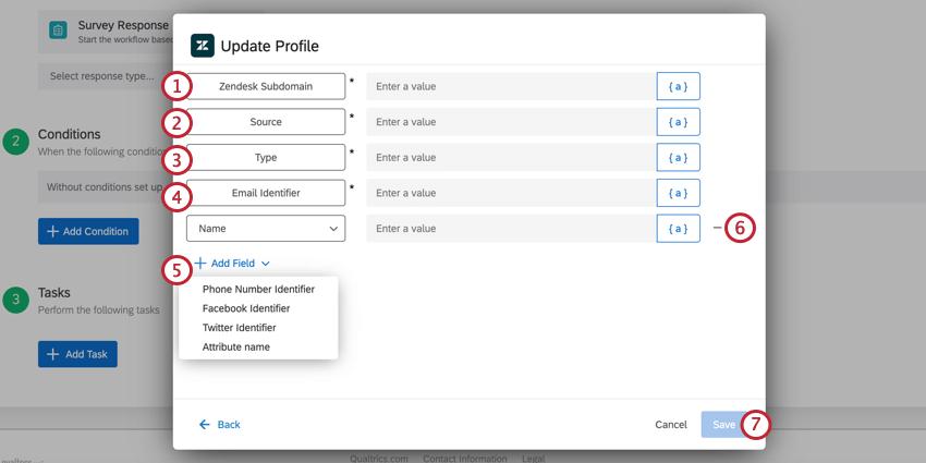 the update profile task of the zendesk task