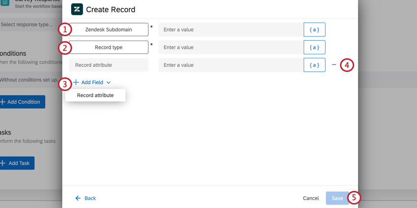 the create record task of a zendesk task