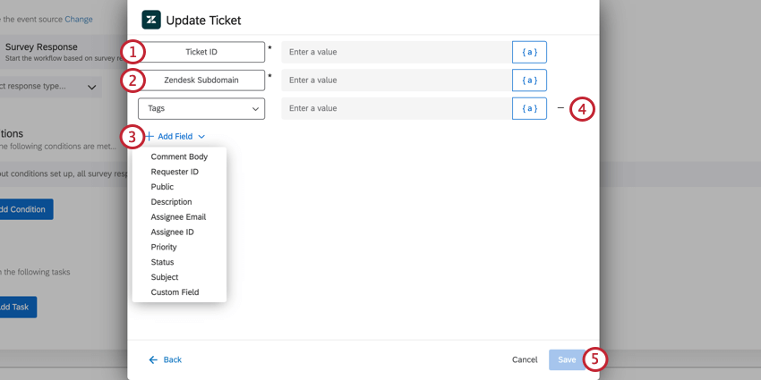 the update ticket task of a zendesk task