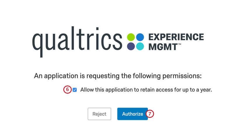 authorizing the app to connect to your qualtrics account