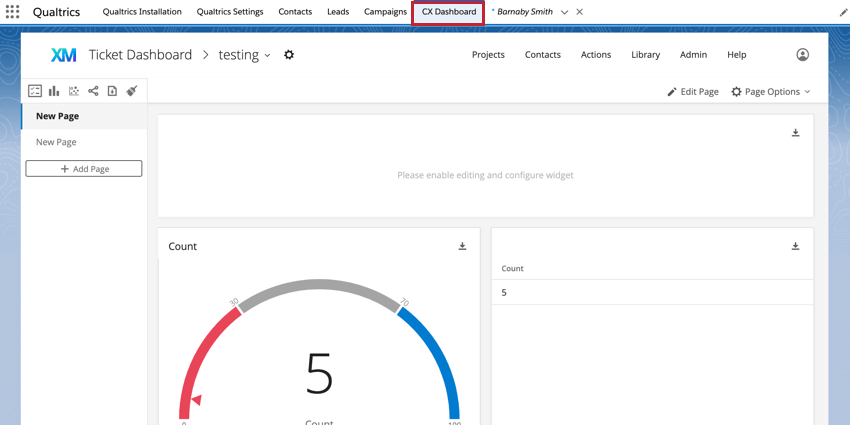 the cx dashboard tab of the qualtrics app