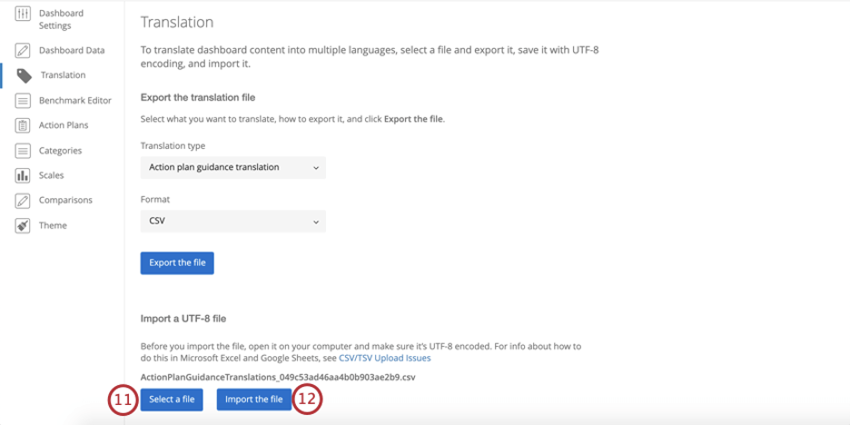 Bottom of translation tab, buttons for uploading and submitting the import