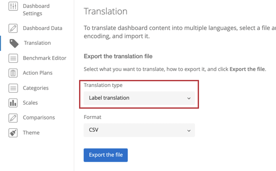 "Translation tab of dashboard settings/ The field with translation type is highlighted, and inside it says ""label translations"""