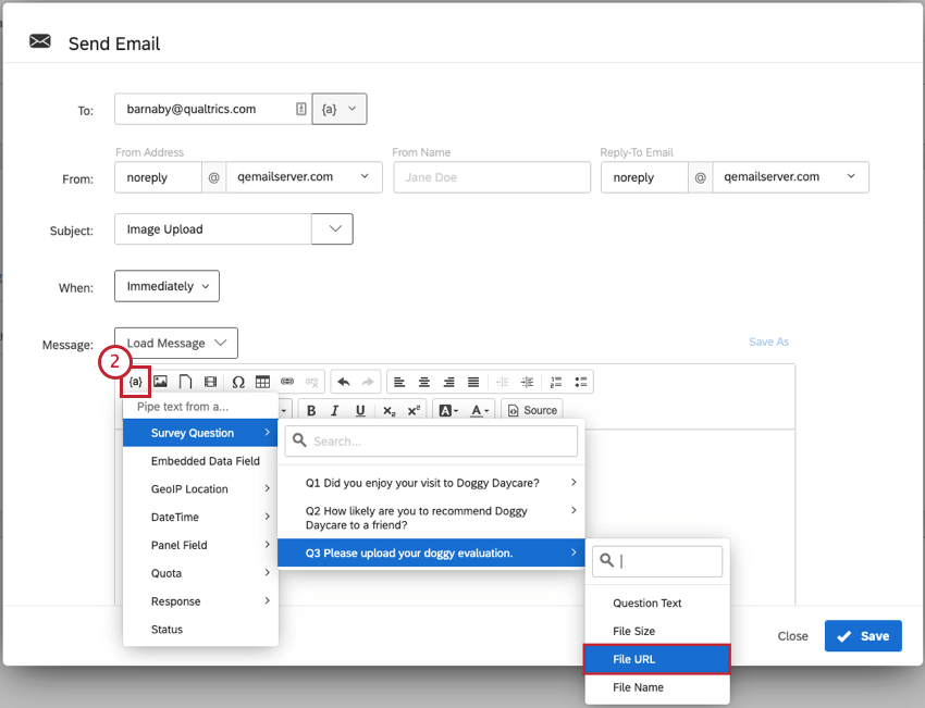 Image of Email Task screen with Piped Text selected for the uploaded file URL