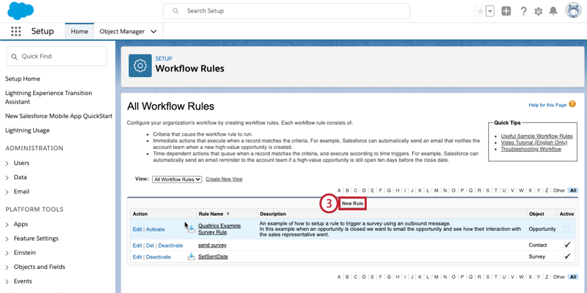 selecting new rule in salesforce