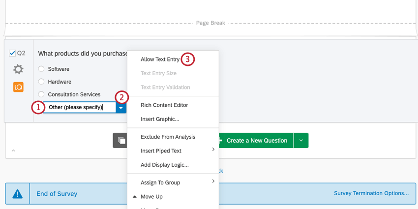allowing text entry on an answer choice