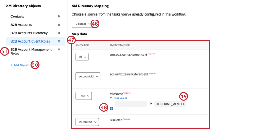 mapping firleds for the b2b account client roles field