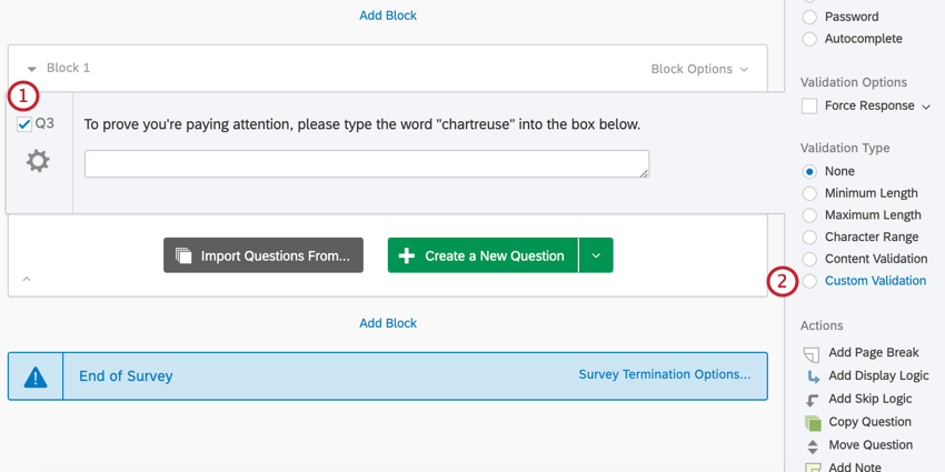 the survey editor. a question has been selected and custom validation is chosen