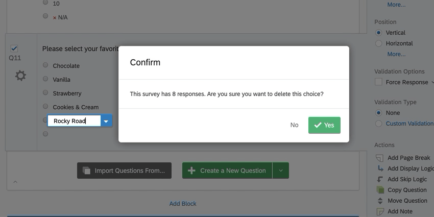 the confirmation window for deleting an answer choice after having collected data