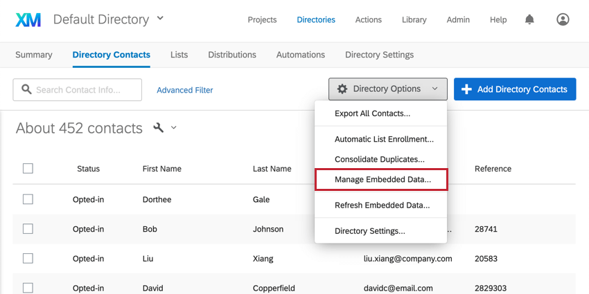 Manage Embedded Data option third from last in directory options dropdown on upper-right